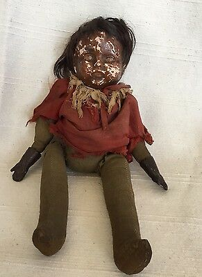 Antique Vintage German? Black Girl Children's Doll With Real Hair Straw Filled