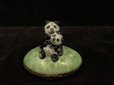 Limoges France Handpainted Panda Bears Trinket Box - Signed