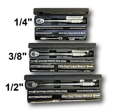 "Set of 3 Pro Reversible Click Type Torque Wrench Sizes 1/4"" 3/8"" 1/2"""