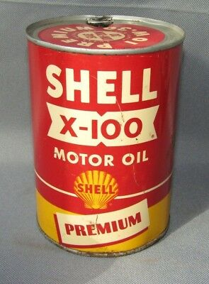 Vintage Shell X-100 Premium Motor Oil Can