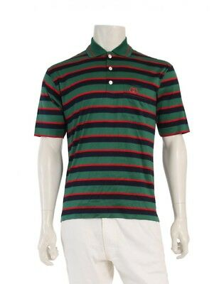 aed4bcfb107f59 Gucci interlocking G polo shirt border pattern green navy red vintage  manufactur