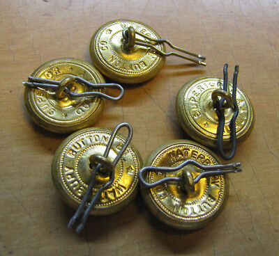 5 Vintage BRASS BUTTONS U.S. Military Eagle Anchor Waterbury Co SUPERIOR QUALITY
