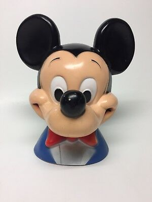 Vintage 1971 WALT DISNEY Mickey Mouse Head Play Pal plastic Piggy Bank Coin