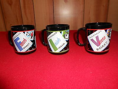 VTG Lot of 3 McDonald's Black Coffee Cups Made In France EUC