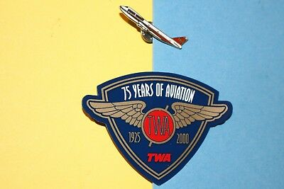 1970 Twa Airlines 747 Airplane Service Pin 75 Years Aviation Ice Magnet Set Lot