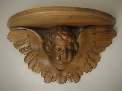 Antique French Hand Carved Wood Winged Angel/Cherub Shelf