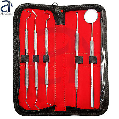 Dental Periodontal Probes 23/17A Explorer Hook Mouth Mirror Teeth Inspection Kit
