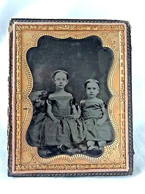 1/4 Plate AMBROTYPE of TWO SISTERS Holding HANDS. One Identified. Circa 1860