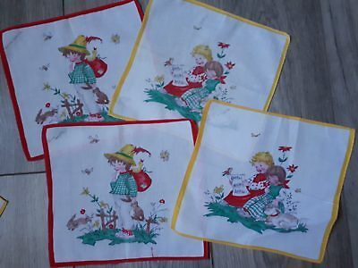 Mouchoir ancien 1965 environ vintage  Old Handkerchief children lapin rabbit