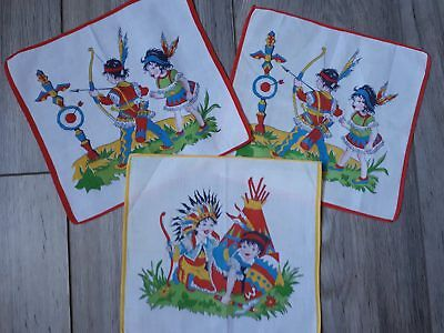 Mouchoir ancien indien cow boy 1965 environ vintage  Old Handkerchief children