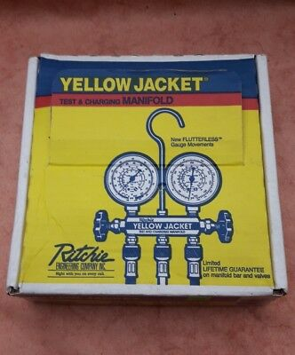 """Yellow Jacket #41215 Test And Charging Manifold Hoses and 2 1/2"""" Gauge Set"""