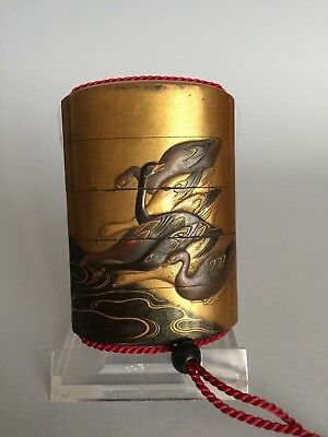 Edo Period Japanese Gold Four Case Lacquer Inro With Geese / Ducks