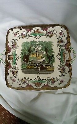 Mason's Ironstone China Leeds Square Handled Serving Plate Copper Accents