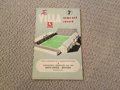 1954/5 Aston Villa v Doncaster Rovers. FA Cup Rd 4 Replay