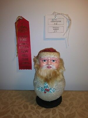 Rare Vintage Santa Father Christmas Papermache Cardboard Candy Container Handmad