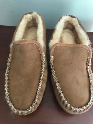 f2d1d80746b LL Bean Wicked Good Shearling Brown Venetian Slippers Moccasins Men s Size  ...