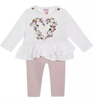 Ted Baker Baby Girl Floral Print Top And Quilted Legging Set 3-6 Months