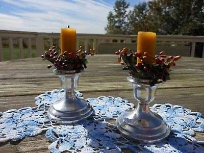 Vintage Pair of  REVERE STERLING SILVER Candle Holders