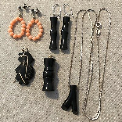 Lot Of Vintage Earrings And Pendants Coral Some Sterling