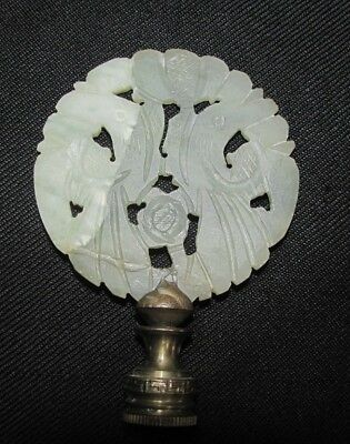 Antique CHINESE GREEN & WHITE CARVED JADE JADEITE LAMP FINIAL PENDANT CHINA