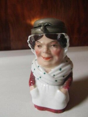 Antique Vintage Small Porcelain Victorian Woman Character Inkwell