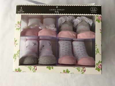 New Laura Ashley Boxed Baby 4 Pairs Socks Set 0-6 Months