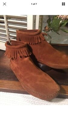 Minnetonka Leather Moccasins W/ Tassels Size 11 Native American Womens
