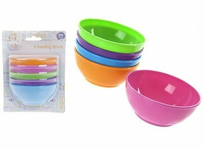 5X BABIES FEEDING BOWLS Food Storage BRIGHT Multi Colour KIDS WEANING SERVE SET