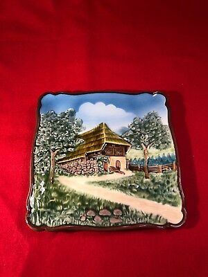 Vintage Embossed Black Forest Mountain Chalet West Germany Majolica Plaque Plate