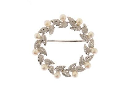 ESTATE VINTAGE 14K WHITE GOLD & PEARL WREATH BROOCH / PIN 31.50mm