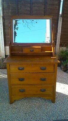 Antique Victorian Varnished Wood Dressing Table/Chest