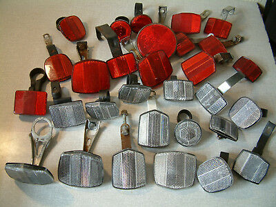 Joblot  of 28 Used Bicycle Reflectors , Vintage and Modern 14 White 14 Red