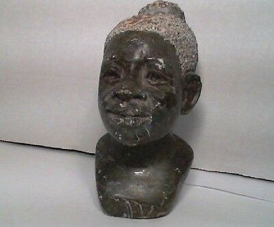 Vintage Unknown Stone Carved African Woman Bust Head Black Figure Statue