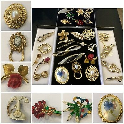 Large Job Lot Vintage  Jewellery Brooches/Xmas Bouquet,Gold Tone Thistle x30