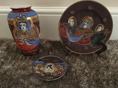 Antique Vintage Japanese Colourful Samurai Satsuma Vase And Plates marked