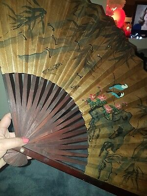 Large Chinese Oriental Wall Fan Gold Hand Painted Decretive Antique