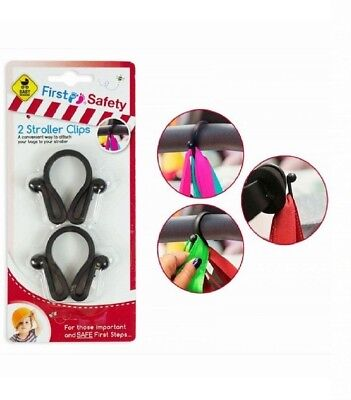 2 x Stroller Shopping Bag Clips Hooks For Buggy Pram Pushchair Hand Carry Attach
