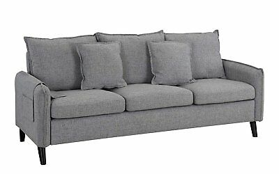 Modern 3 Seat Couch Living Room Linen Fabric Sofa W/ Pillows, Couch (Light