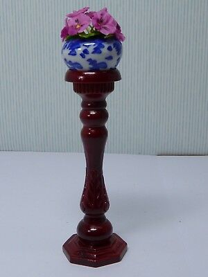 Dolls House Miniature 1:12 Scale Carved Wooden Pedestal With Pansy Pot Plant