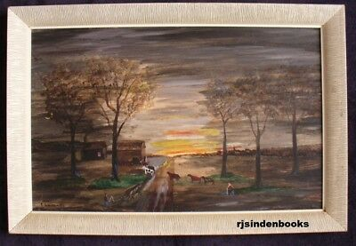 Canadian Art Dr. E.c.lumley St. Thomas Naive Painting  Untitled Evening Scene
