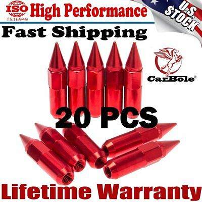 TOP 20Pcs 60mm Red Spiked Aluminum Extended Tuner M12X1.5 Wheels/Rims Lugs Nuts
