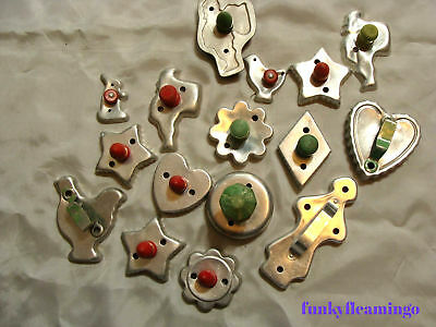 VINTAGE ALUMINUM COOKIE CUTTERS WOOD and METAL HANDLES ~ LOT 16