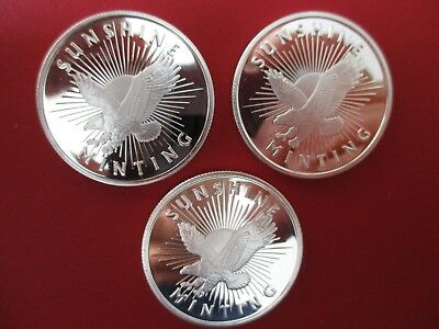 Lot of 3 - Sunshine Mint Silver Rounds 1 oz. . 999 Fine w/ mint mark