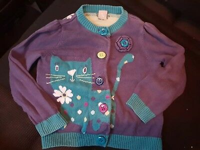 girls 12-18 months knit cat disty purple cardigan jumper party clothes next day