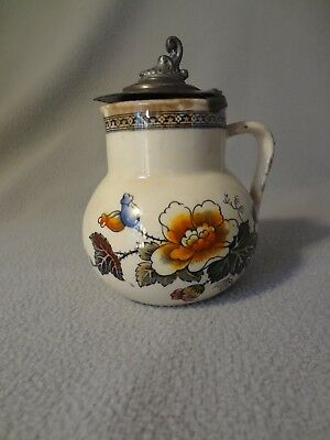 Antique Salopian? Pottery Creamer with Pewter Lid