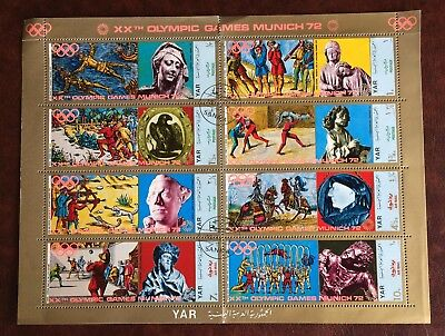 Olympic Summer Games Munich 1972 - Block of 8 used stamps YAR