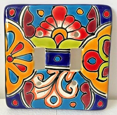 Talavera Double Toggle Switch Plate Cover Ceramic Mexican Pottery