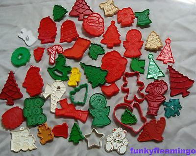 Vintage Plastic Holiday Christmas Cookie Cutters Mostly Hallmark Lot 46