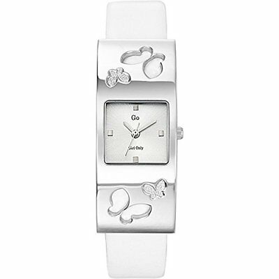 Go Women's 697846 Square Brass Silver Dial White Leather Wristwatch
