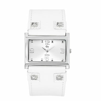 Go Women's 697848 Square Brass Silver Dial Crystals White Leather Wristwatch